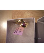 Amethyst Heart Ring 18K Goldplated Over Sterlin... - $59.99
