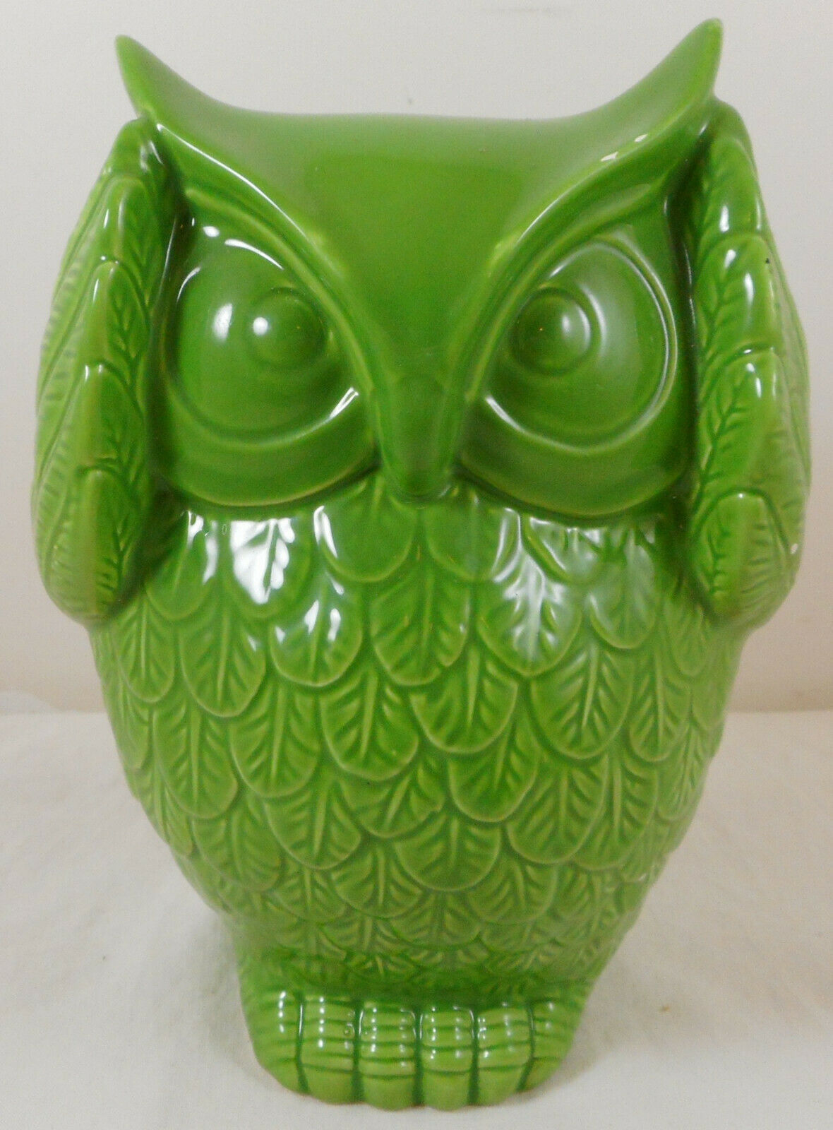 "Primary image for Urban Trends Hear No Evil owl Figurine 7"" Green Ceramic"