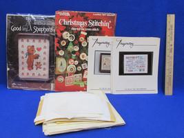 Cross Stitch Ornament Pattern 2 Saying Patterns Teddy Bear & Fabric Cream Tan  - $18.76