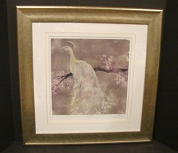 Peacock Serenity II Signed Ltd Ed Framed Giclee Print by Jennifer Goldbe... - $69.90