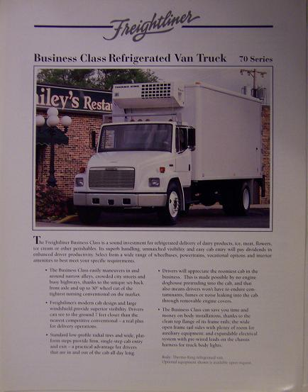 1995 Freightliner FL70 Reefer Straight Truck Specifications Sheet