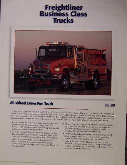 1996 Freightliner FL80 All-Wheel-Drive Fire Truck Specifications Sheet