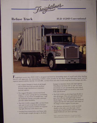 1993 Freightliner FLD112SD Refuse Truck Specifications Sheet