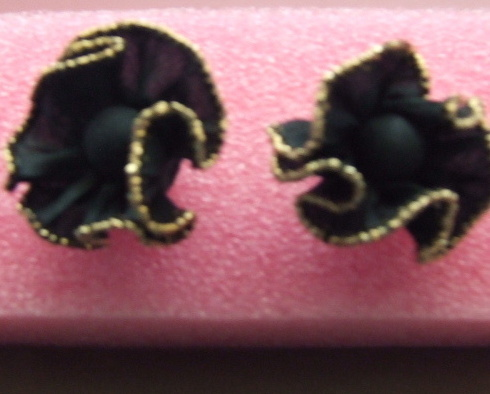 Retro Earrings Black Fabric Ruffled w/gold Trim,pierced
