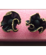 Retro Earrings Black Fabric Ruffled w/gold Trim... - $2.95