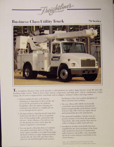 1994 Freightliner FL70 Utility Truck Specifications Sheet