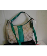 Womens coach new handbag F21873 hobo khaki/bright jade beautiful - $148.45