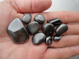 Hematite grounding stones tumbled 10 pieces silver-gray shiny 3 oz - $8.99