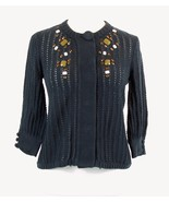 FOSSIL Size M Blue Embellished Pointelle Knit Cotton Cardigan Sweater - $17.99