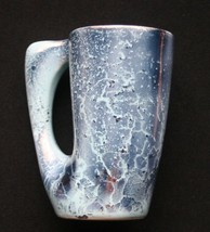 Vintage Laurentian Art Ware Pottery Beer Mug Atomic Blue Metallic Canada - $17.99
