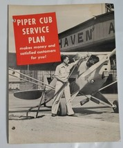 Vintage 1950's Piper Cub Service Plan Airplane Promotion Advertising Flyer - $19.75