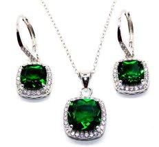 925 Sterling Silver Emerald & Sim Diamond 8.46ct Cluster Necklace Set - $3.865,70 MXN