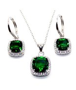 925 Sterling Silver Emerald & Sim Diamond 8.46ct Cluster Necklace Set - $199.99