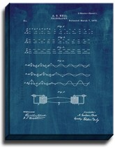 Telegraphy Patent Print Midnight Blue on Canvas - $39.95+