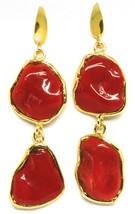 Ohrringe Silber 925, Anhänger, Gelb, Rote Koralle Natürlich Cabochon image 2