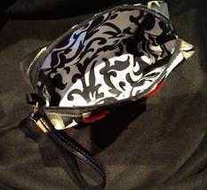 Clutch Bag/Wristlet/Makeup Bag - Red Rose Applique on Black & Gold Brocade image 4