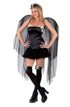 Skull Fairy Sexy Goth Adult Women's Halloween Costume w/ Wings Size 10-14 - $16.78