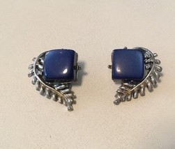 Coro Dk Blue Square Lucite Thermoset Clip Earrings with Silvertone Curve... - $7.87