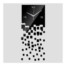 Mirror Wall Clock 3D Decoration Square Mosaic  black - $15.40