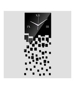 Mirror Wall Clock 3D Decoration Square Mosaic  black - €14,12 EUR