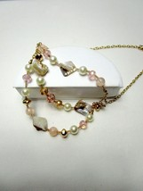 Gold Tone Shell Faux Pearl Necklace Multi Strand Faceted Beads - $6.65