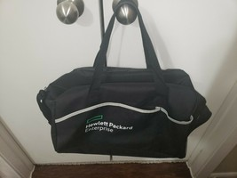 NEW HPE Duffel Gym Bag Travel Carry On Zip Top Black Canvas 17x11.5x8.75... - $19.79
