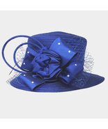 Ginga's Galleria Navy Blue Studded Bow Flower Mesh Dressy Derby Hat - $45.00
