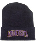 Minnesota Embroidered Blended Folded Beanie Winter Hat (Purple/Black) - $12.95