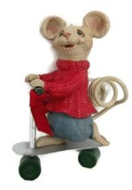 Merry Chrismouse Figurine by Kurt S Adler (On Scooter) - $17.33