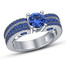 Christmas Gifts For Girls White Gold Finish 925 Silver Blue Sapphire Wom... - $88.01