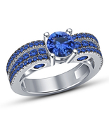 Christmas Gifts For Girls White Gold Finish 925 Silver Blue Sapphire Wom... - $74.99