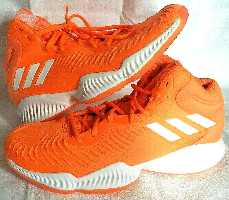 adidas SM Mad Bounce Mens 12.5 D97371 Basketball Shoes Orange & White 2018