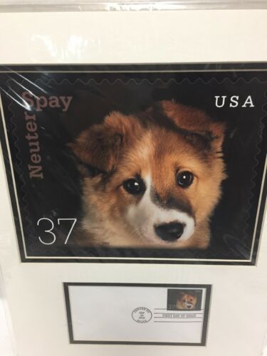 Neuter Spay 2002 USPS First Day Issue NFL Dog Stamp Matted