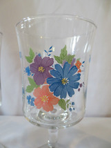 Set 6 Daisy Floral Water Wine Glasses goblets stemware - $25.00