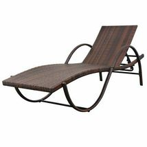 vidaXL Sunlounger w/ Table Poly Rattan Wicker Patio Sun Day Bed Lounge 2 Colors image 6