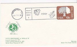 APOLLO 14 FIFTH ANNIVERSARY HOUSTON, TX 1/31/1976 MAILERS POSTMARK SCCS - $1.78
