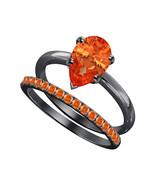 Pear Cut Orange Sapphire 14k Black Gold Over 925 Silver Engagement Brida... - $69.35