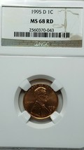 1995D MS68 RD Red Lincoln Memorial Cent Coin NGC Lot  519-48