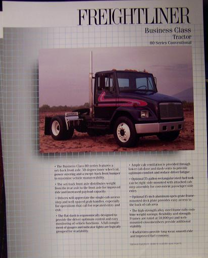 1991 Freightliner FL80 Daycab Road Tractor Specifications Sheet