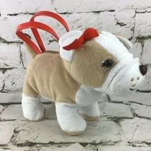 Gymboree French Bulldog Plush Hand Bag Girls Purse Stuffed Animal Toy Red Bow - $14.84