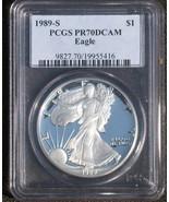 1989 S SILVER EAGLE, PCGS PR70 - $340.00