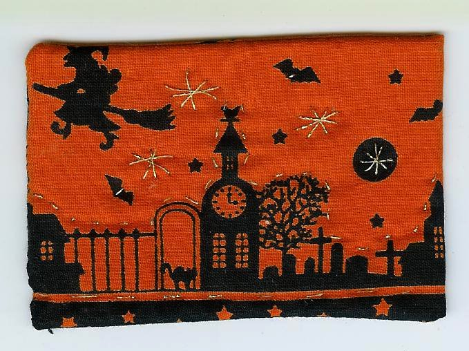 Halloween ACEO fabric gold sparkley quilting