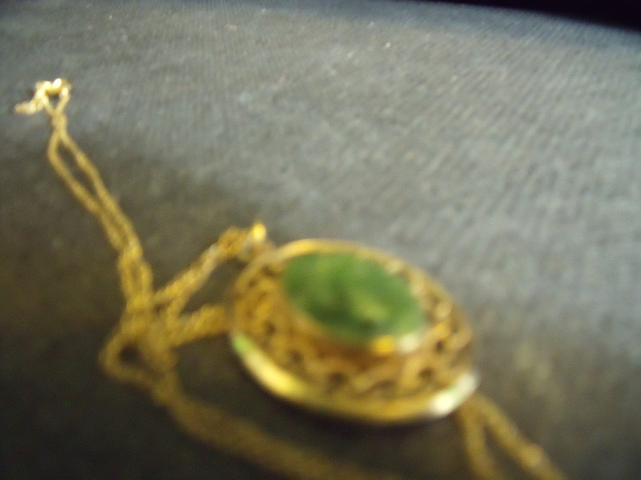 Vintage 12K GF Dainty Jade Pendant and Chain