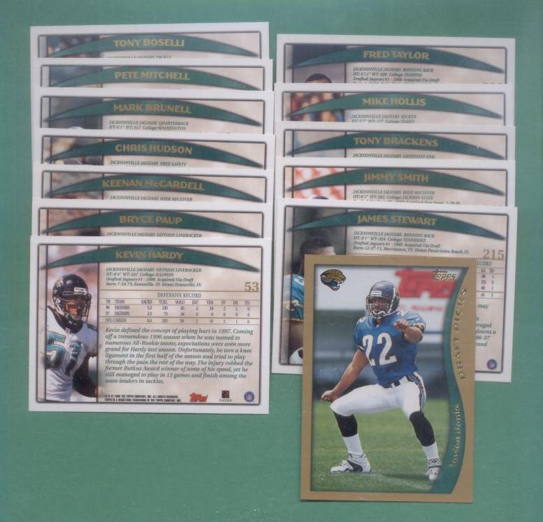 1998 Topps Jacksonville Jaguars Football Set