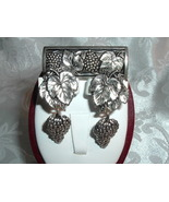 Antique Vintage Set Silver Tone Grapes and Leaves Brooch and Clip Earrings - $34.95