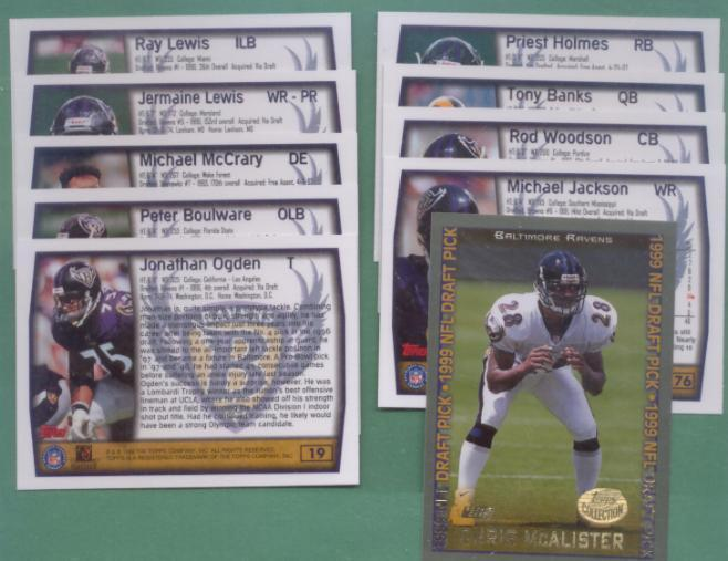 1999 Topps Baltimore Ravens Football Team Set