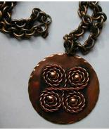 VINTAGE Copper REBAJES Pendant w Chain SPIRAL - $79.00