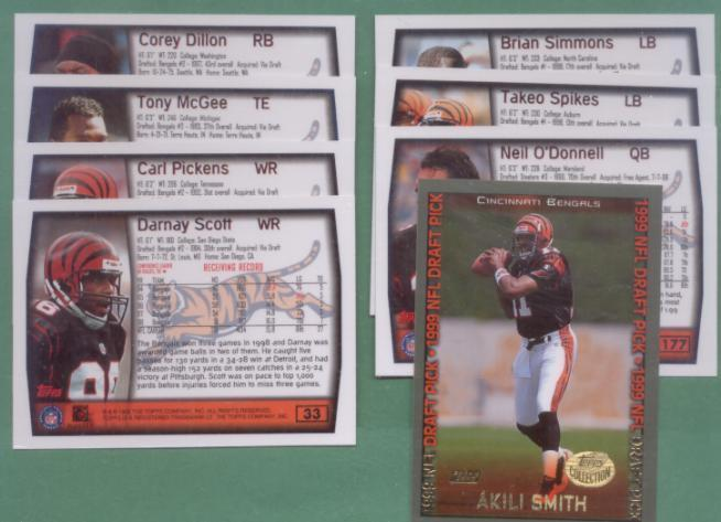 1999 Topps Cincinnati Bengals Football Team Set