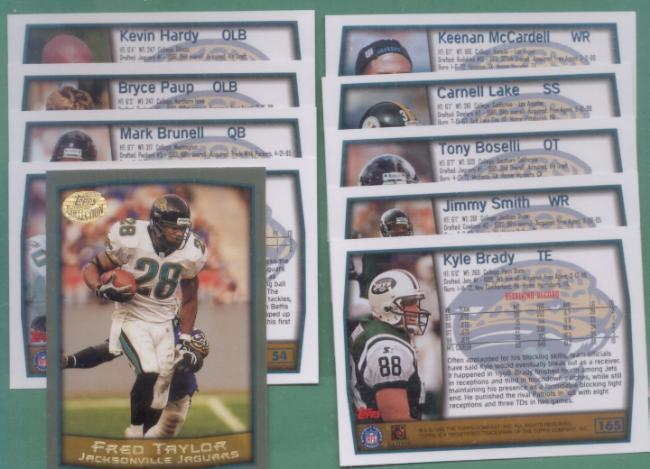 1999 Topps Jacksonville Jaguars Football Team Set