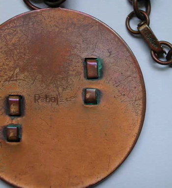 VINTAGE Signed REBAJES Copper Medallion PENDANT w Chain